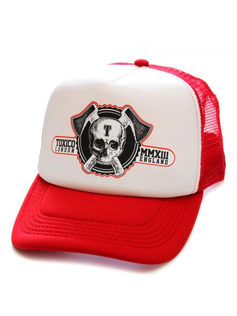 TOXICO - Axe Skull Logo Keps Röd/Vit
